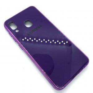 TPU+Glass чехол Glass Case Logo зеркальный для Samsung Galaxy A20 / A30 2019 (Фиолетовый)