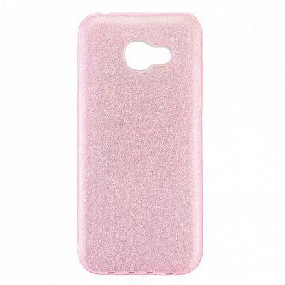 Cиликоновый (TPU+PC) чехол Shine с блестками для  Samsung Galaxy A3 2017 (A320) (Розовый)