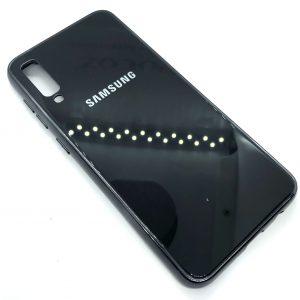 TPU+Glass чехол Glass Case Logo зеркальный для Samsung Galaxy A50 2019 (A505) Черный