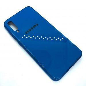 TPU+Glass чехол Glass Case Logo зеркальный для Samsung Galaxy A50 2019 (A505) Синий