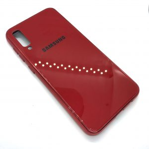 TPU+Glass чехол Glass Case Logo зеркальный для Samsung Galaxy A50 2019 (A505) Красный