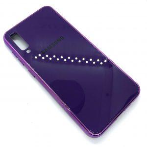 TPU+Glass чехол Glass Case Logo зеркальный для Samsung Galaxy A50 2019 (A505) Фиолетовый