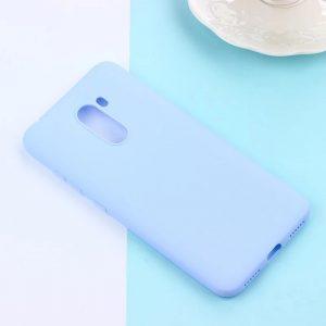 Матовый силиконовый (TPU) чехол для Xiaomi Pocophone F1 (Светло-голубой)