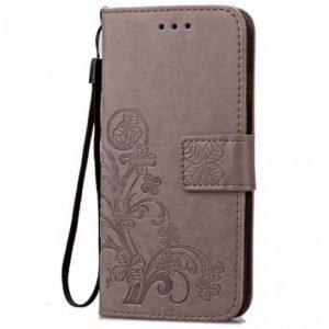 Кожаный чехол-книжка Four-leaf Clover с визитницей для Meizu X8 (Серый)