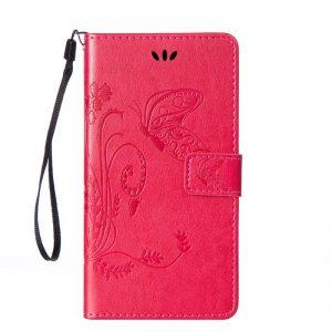Кожаный чехол-книжка Four-leaf Clover с визитницей для Meizu M6 Note (Розовый)