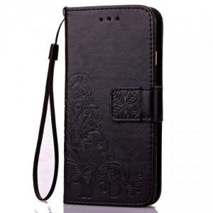 Кожаный чехол-книжка Four-leaf Clover с визитницей для Meizu M6 Note (Черный)