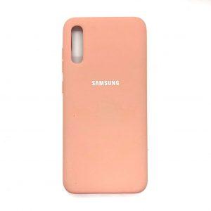 Оригинальный чехол Silicone Cover 360 с микрофиброй для Samsung Galaxy A70 2019 (A705) Персиковый
