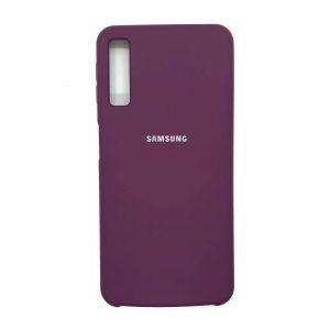 Оригинальный чехол Silicone Case с микрофиброй для Samsung A750 Galaxy A7 (2018) Фиолетовый