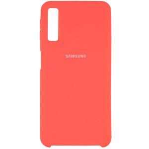 Оригинальный чехол Silicone Case с микрофиброй для Samsung A750 Galaxy A7 (2018) Кораловый