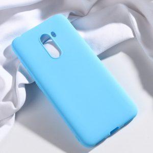 Матовый силиконовый (TPU) чехол для Xiaomi Pocophone F1 (Голубой)