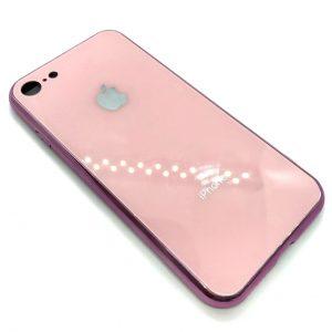TPU+Glass чехол Glass Case зеркальный для Iphone 7 / 8 (Светло-розовый)