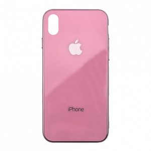 TPU+Glass чехол Glass Case Logo зеркальный для Iphone XS Max (Pink)