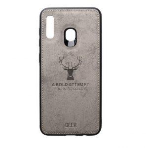 Силиконовый чехол (TPU+экокожа) Deer для Samsung Galaxy A20 2019 / A30 2019 (Серый)
