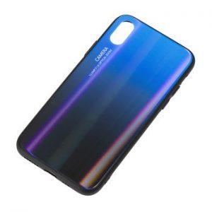 TPU+Glass чехол Gradient Glass с градиентом для Iphone XS Max (Синий / Черный)