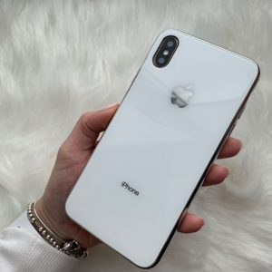 TPU+Glass чехол Glass Case Logo зеркальный для Iphone XS Max (White)