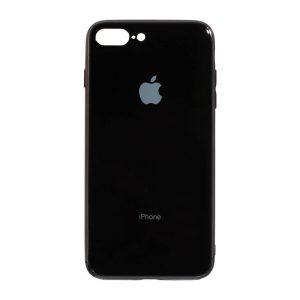 TPU+Glass чехол Glass Case Logo зеркальный для Iphone 7 Plus / 8 Plus (Черный)
