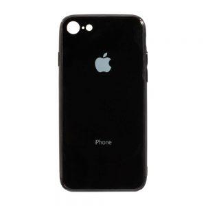 TPU+Glass чехол Glass Case Logo зеркальный для Iphone 7 / 8 (Черный)