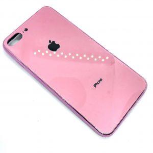 TPU+Glass чехол Glass Case Logo зеркальный для Iphone 7 Plus / 8 Plus (Розовый)