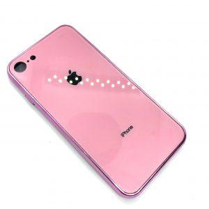 TPU+Glass чехол Glass Case Logo зеркальный для Iphone 7 / 8 (Розовый)