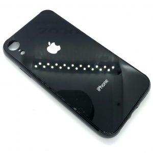 TPU+Glass чехол Glass Case Logo зеркальный для Iphone XR (Черный)