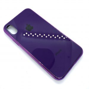 TPU+Glass чехол Glass Case Logo зеркальный для Iphone X / XS (Фиолетовый)