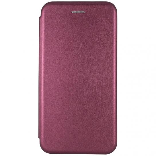 Кожаный чехол-книжка 360 с визитницей для Xiaomi Redmi 8 / 8A – Бордовый