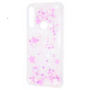 TPU+PC чехол Lovely Stream с переливающимися блестками для Huawei P Smart Z (white pink stars)