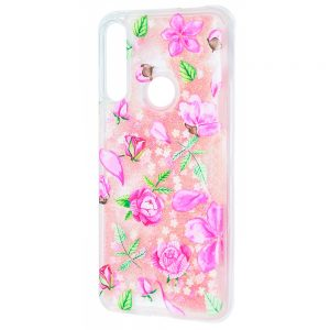 TPU+PC чехол Lovely Stream с переливающимися блестками для Huawei P Smart Z (pink roses)