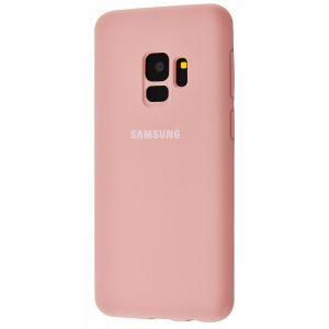 Оригинальный чехол Silicone Cover 360 с микрофиброй для Samsung Galaxy S9 (G960) (Пудровый))