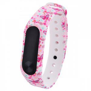 Ремешек для фитнес-браслета Xiaomi Mi Band 3 / 4 с рисунком (pink butterfly)