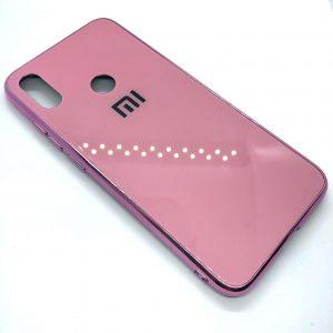 TPU+Glass чехол Glass Case Logo зеркальный для Xiaomi Redmi Note 7 / 7 Pro / 7s (Розовый)