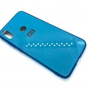 TPU+Glass чехол Glass Case Logo зеркальный для Xiaomi Redmi Note 7 / 7 Pro / 7s (Голубой)