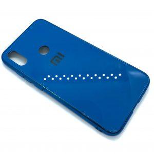 TPU+Glass чехол Glass Case Logo зеркальный для Xiaomi Redmi Note 7 / 7 Pro / 7s (Синий)