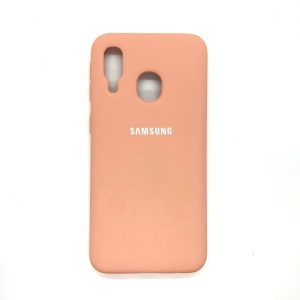 Оригинальный чехол Silicone Cover 360 с микрофиброй для Samsung A40 2019 (A405) (Персиковый)