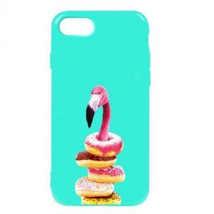 Силиконовый TPU чехол TOTO Pure Print Case с рисунком для Iphone 7 / 8 / SE (2020) – Flamingo Donats Mint