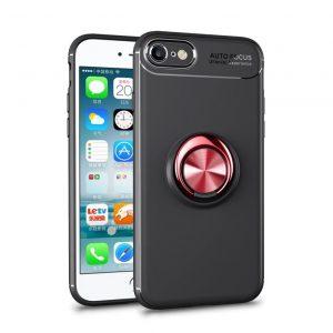 Cиликоновый чехол Deen ColorRing c креплением под магнитный держатель для Iphone 7 / 8 / SE (2020) – Черный / Красный