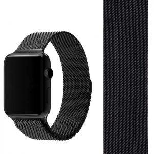Ремешек Миланская петля Milanese Loop для Apple Watch 42 mm / 44 mm №1 (Черный)