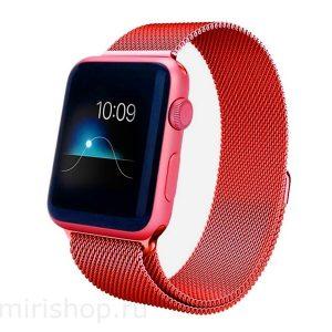 Ремешек Миланская петля Milanese Loop для Apple Watch 38 mm / 40 mm №6 (Красный)