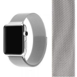 Ремешек Миланская петля Milanese Loop для Apple Watch 38 mm / 40 mm №2 (Серебряный)