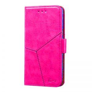 Кожаный чехол-книжка Ktry с визитницей для Meizu X8 (Розовый)