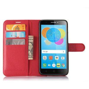 Кожаный чехол-книжка Wallet с визитницей для Sony Xperia XZ2 (Красный)