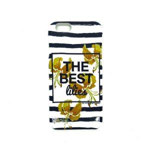 Силиконовый чехол The best lilies полосатый для Iphone 6 / 6s (Желтые лилии)