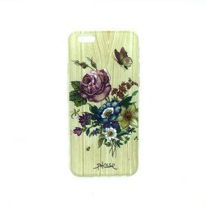 Силиконовый 3D чехол с рисунком под дерево для Iphone 6 / 6s (Цветы)