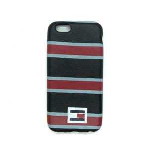Силиконовый чехол  полосатый для Iphone 6 / 6s (Черный / красный)