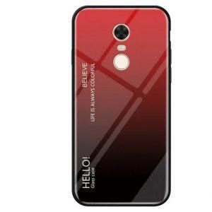 TPU+Glass чехол Gradient HELLO с градиентом для Xiaomi Redmi 5 Plus (Красный / Черный)