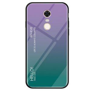 TPU+Glass чехол Gradient HELLO с градиентом для Xiaomi Redmi 5 Plus (Фиолетовый / Салатовый)