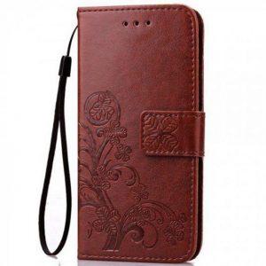 Кожаный чехол-книжка Four-leaf Clover с визитницей для Meizu X8 (Коричневый)