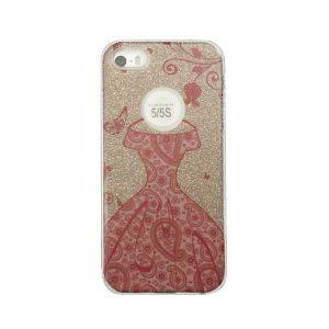 Cиликоновый (TPU+PC) чехол Shine с блестками и платьем для Iphone 7 / 8 (Золотой)