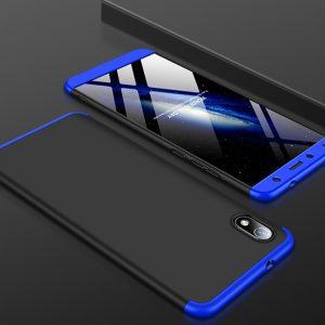 Матовый пластиковый чехол GKK 360 градусов для Xiaomi Redmi 7A (Черный / Синий)