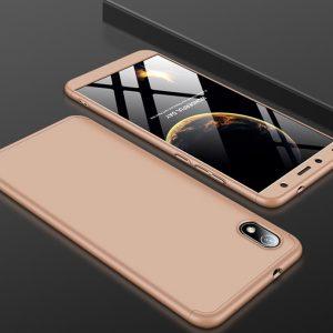 Матовый пластиковый чехол GKK 360 градусов для Xiaomi Redmi 7A (Золотой)